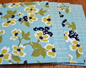 Placemats, Set of 4, Floral pattern in aqua, lime black and white, Tablemats, Dining table mats, Kitchen table mats, Ready to ship