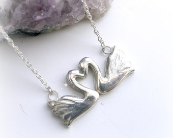 Swans Heart Necklace, Bridal and Wedding Jewelry, Silver Heart Jewelry, Gift Idea For Her