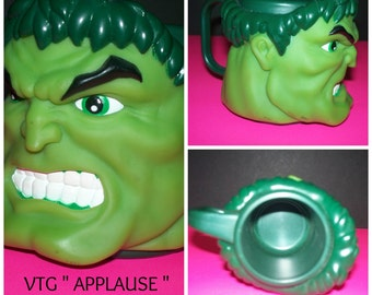 "Rare Collectible Vintage Incredible Hulk "" Applause Co. "" Hard Plastic Tumbler Cup  / Mug / green"