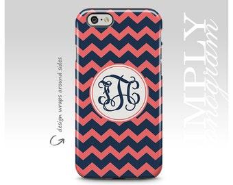 iPhone 7 Plus Case, iPhone X Case, Navy Blue Chevrons, iPhone 7 Case, Monogram, iPhone 8 Plus Case , Personalized Case, Galaxy S8 Plus Case
