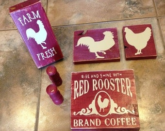 Rustic Burgundy Rooster Kitchen Set~Distressed~Rooster~Kitchen~Burgundy Decor