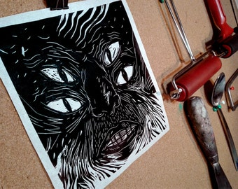 Linocut Hand-pulled Print.