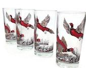 Vintage Glass Tumblers-Red Pheasant- Drinking Glasses-Woodland-Set of 4-Retro Barware-Rustic Bar-Birds-Game Birds-Man Cave