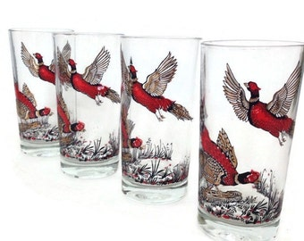 Vintage Glass Tumblers-Red Pheasant- Drinking Glasses-Woodland-Set of 4-Retro Barware-Rustic Bar-Birds-Game Birds-Man Cave