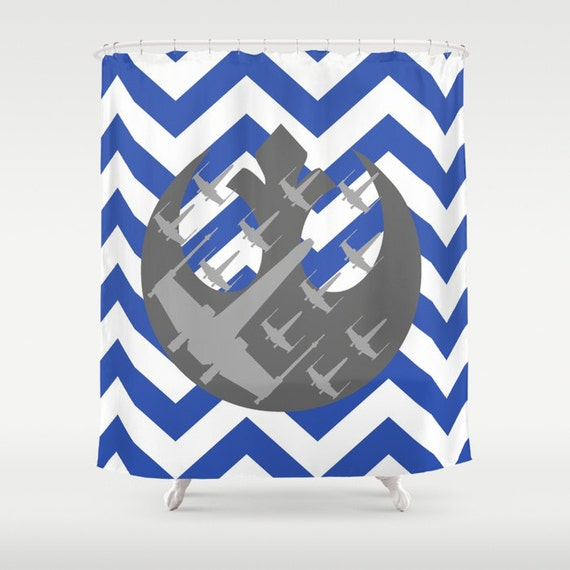 White and gray star wars wraith squadron and chevrons shower curtain