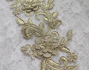 gold Alencon Lace Applique, 3D alencon lace applique
