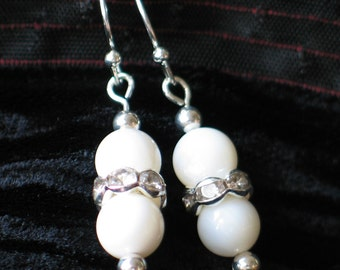 White Shell Earrings, Rhinestone Earrings,  White Shell Rhinestone Drop Earrings