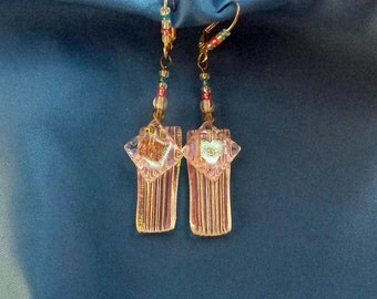 Dichroic heart fused glass earrings