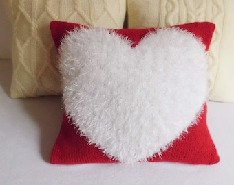 Custom Knit Pillow Cover, Heart Knit Pillow, Love Cushion Cover, Love Pillow Case, Wedding Gift, Heart Fluffy pillow