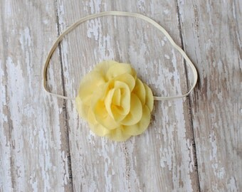 Baby Headband, Yellow headband or Gray Flower Headband Vintage Chic Photography Prop Skinny Elastic Rustic Wedding Flower Girl