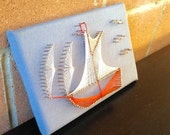 Beautiful 60s Vintage Sailboat String & Nail Art - Blue Nautical Ship Boat