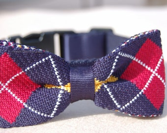 Cute Bow tie dog collar.Pet party collar.Navy with wine red Christmas dog collar,collar, Birthday gift for dog