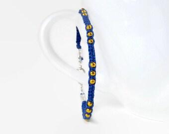 blue adjustable macrame hemp bracelet with golden beads, unisex adult friendship bracelet with carabiner clasp