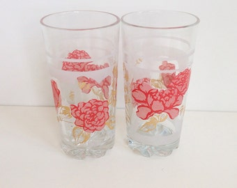 TWO  vintage glasses red coral pink flowers kitchen home decor housewares cottage