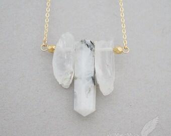 NATURAL Triple Rough Crystal Quartz Points, Genuine Rainbow Moonstone, Black & White Point Pendant, Boho Gift For Her Modern Necklace