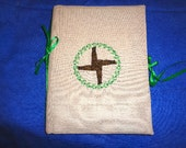 Brigid's Cross Embroidered Reusable Journal Cover with Notebook