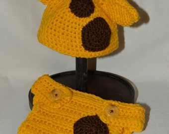 Giraffe hat and nappy cover set made to order, newborn photo prop
