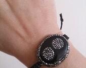 Unique Bracelet Onix Bracelet Druzy Bracelet with swarovskiGeode Jewelry onix agate cat eye gift ideas mothersday