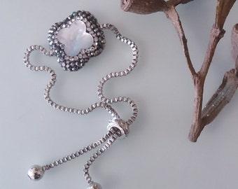 Clover Bracelet flowergirl Unique clover Bracelet mop bracelet with zirconia for leaf clover minimalist