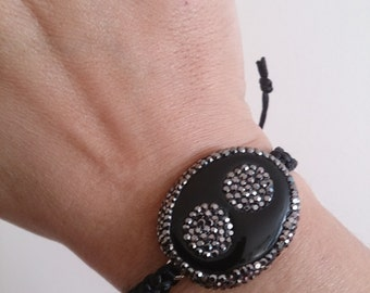 Unique gift woman bracelet Onix Bracelet Druzy Bracelet with swarovskiGeode Jewelry onix agate cat eye gift ideas mothersday