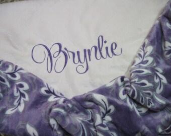 CLASSY PURPLE Swirl Baby Girl Personalized Minky Blanket