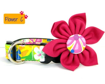 Dog Collar with Flower set- Yellow Floral Print (Mini,X-Small,Small,Medium ,Large or X-Large Size)- Adjustable