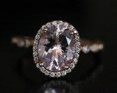 Amazing Pink Morganite Milgrain Rose Gold Morganite Ring Oval 10x8mm and Diamond Engagement Ring