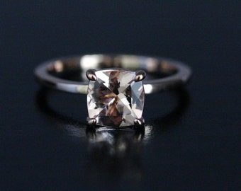 Pink Morganite Cushion 7mm Solitaire in 14k Rose Gold Engagement Ring