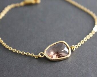 Gold framed glass crystal bracelet // peach