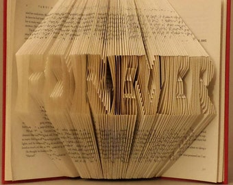 Folded book art - Forever ( Made to order )