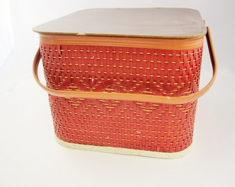 A Smaller, Square Picnic Basket With Redwood Woven Sides - Metal Handle - Unique Color - Read For a Picnic - Stash or Store