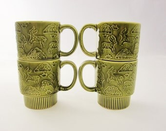 Four Olive Green Mugs With Stylized Deer Graphics - Stacking Cups - Japan - Stack Cups - Ceramic Cups - Coffee Cups - 1970s Coffee Cups