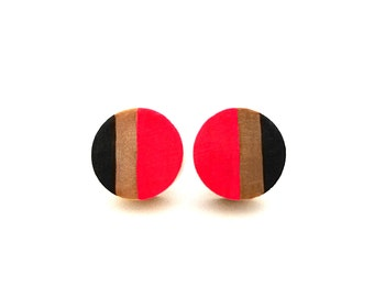 Neon pink and black wood post earrings wood stripe colorblock