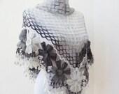 mohair shawl fashioned flower garden