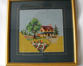 Modern geometric needlepoint// house in wooded setting
