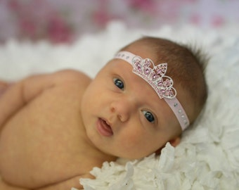 Baby Tiara Headband.Baby Headband.Baby Princess Tiara Headband.Crown Headband.Baby Headbands.Newborn Headband.Baby Girl Headband.Photo Prop