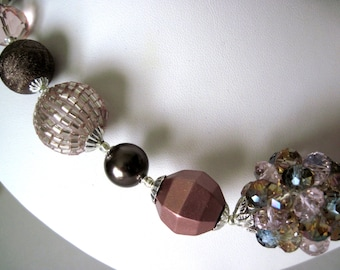 rose and taupe  chunky necklace,    not too big  but bold