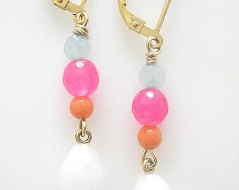 Summer Earrings, White Opal, Coral, Pink Jade, Amazonite on Gold Filled Earrings, Leverback earrings, Faceted Opal, blue