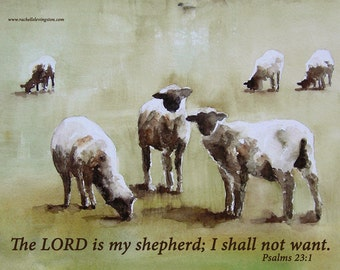 for her religious gift religious art print easter print scripture print the lord is my shepherd typography watercolor painting sheep 11x14
