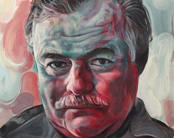 Portrait of Ernest Hemingway - 8x10 Archival Art Print by Scott Laumann