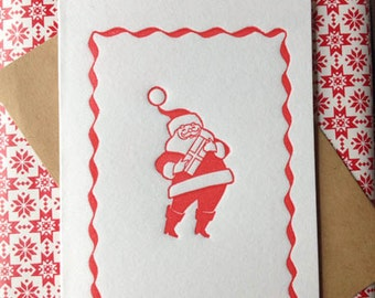 Happy Vintage Christmas letterpress card