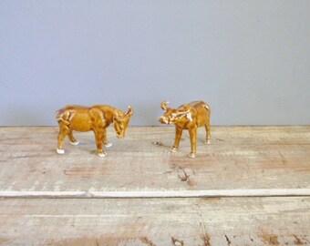 Ox Bull Ornaments pair vintage brown