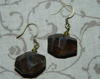 Artisan Handcrafted Smoky Quartz and Swarovski Crystal Beaded Earrings