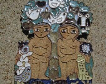 Vintage Adam and Eve Plaque, Wall Hanging, Benedictine Monks, Ceramic Adam Eve