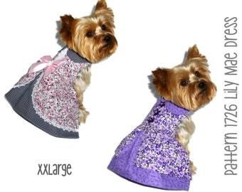Lily Mae Dog Dress Pattern 1726 * XXLarge * Dog Clothes Sewing Pattern * Dog Harness Dress * Designer Dog Clothes * Dog Apparel