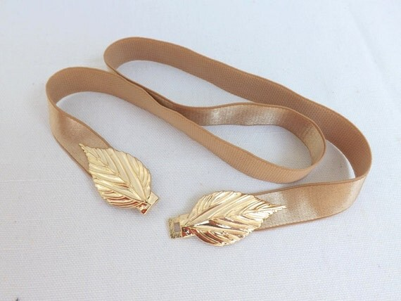 Gold Elastic Waist Belt. Gold Leaf Buckle. Bridal/ Bridesmaid Gold Wedding Belt.