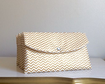 Gold chevron Clutch,bridesmaid gift,beach wedding,gold wedding,mother of the groom,bridal party gifts,bachelorette party,gift for her