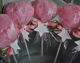 Twinkle Twinkle Little Star Pink And Gold   Baby Shower Favor Bath Puff  Lollipop With Tag