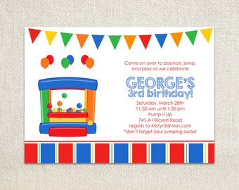 Red, blue, green and yellow boys bouncy house birthday party invitations
