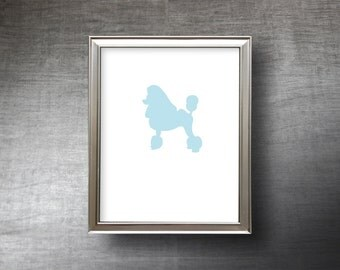 Poodle Art 8x10 - Hand Cut Poodle Silhouette Print - 4 Color Choices - Personalized Name or Text Optional